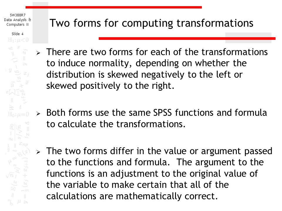Two forms for computing transformations