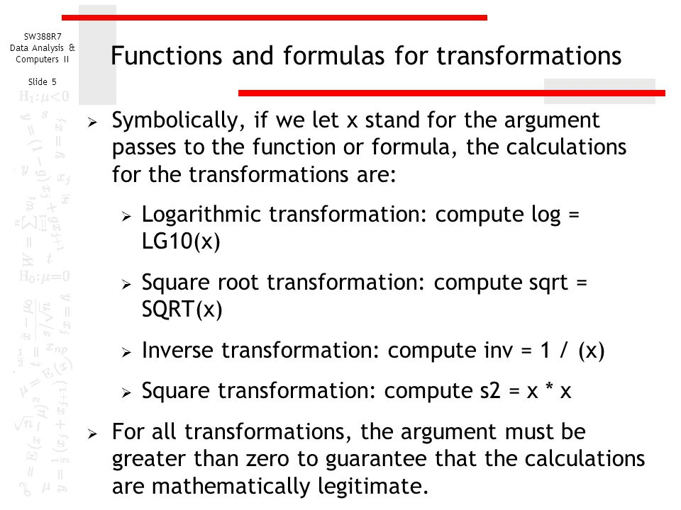 Functions and formulas for transformations