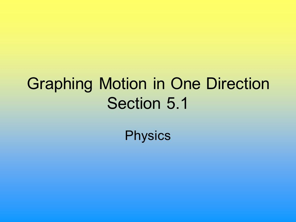 Graphing Motion in One Direction Section 5.1