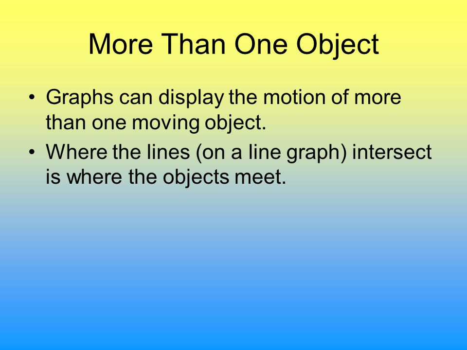 More Than One Object Graphs can display the motion of more than one moving object.