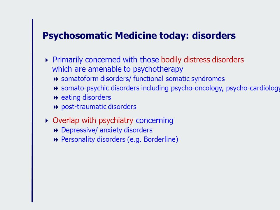 Psychosomatic Medicine today: disorders