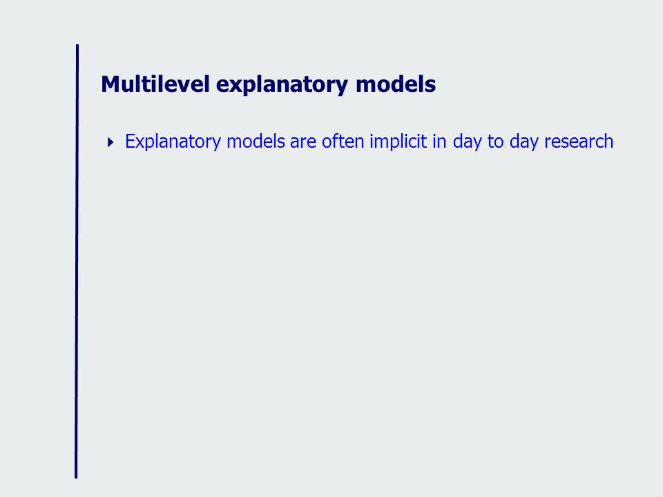 Multilevel explanatory models