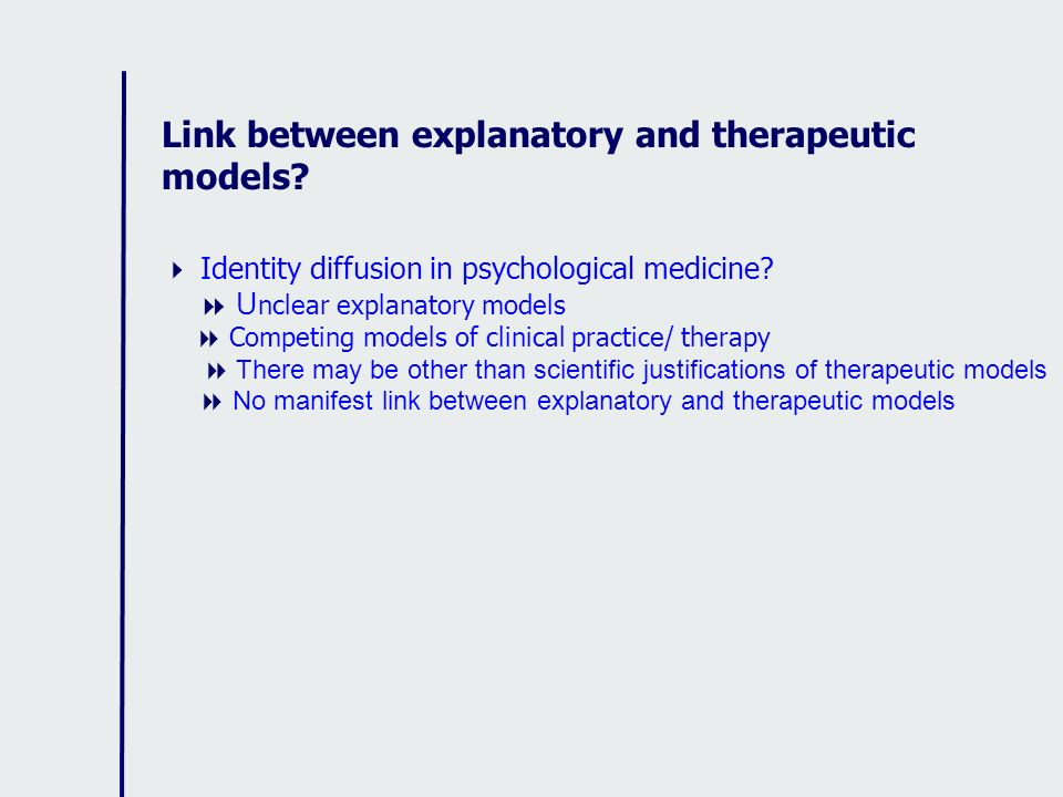 Link between explanatory and therapeutic models