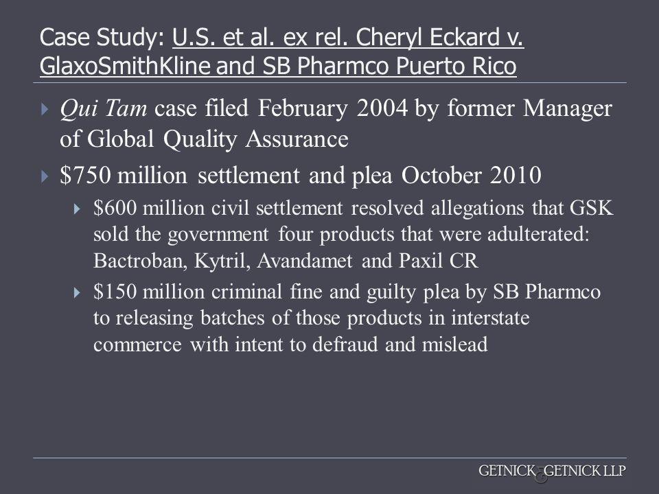 $750 million settlement and plea October 2010