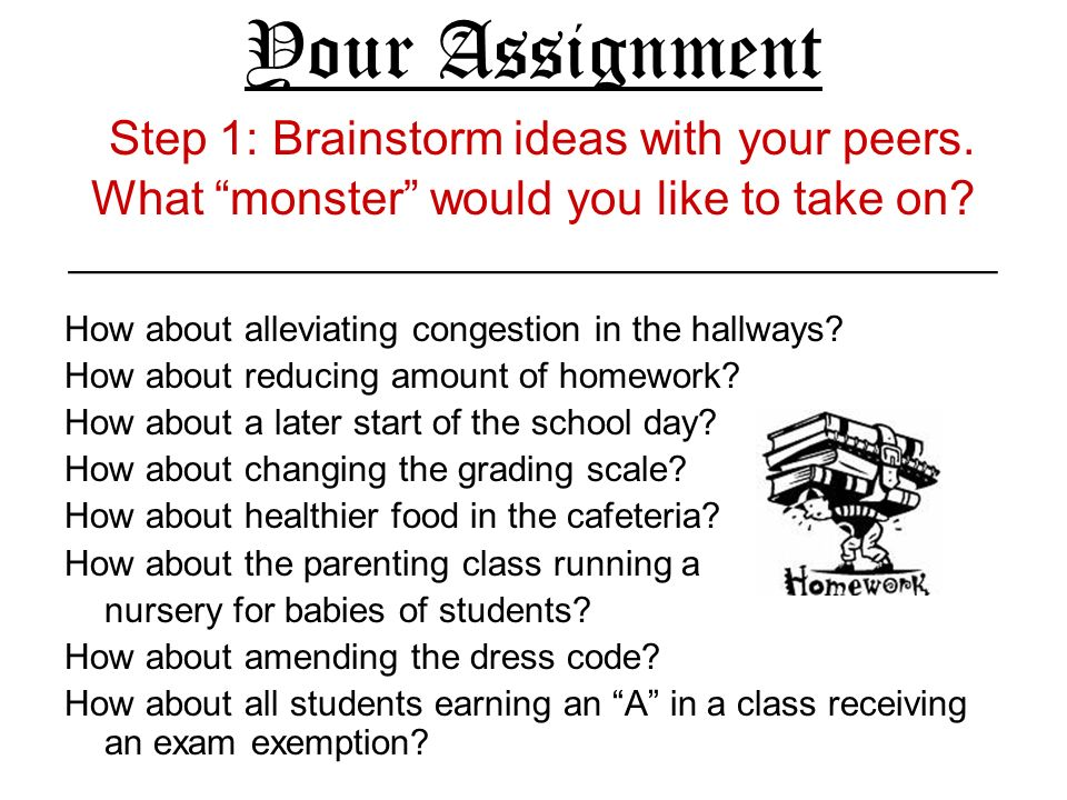 Your Assignment Step 1: Brainstorm ideas with your peers