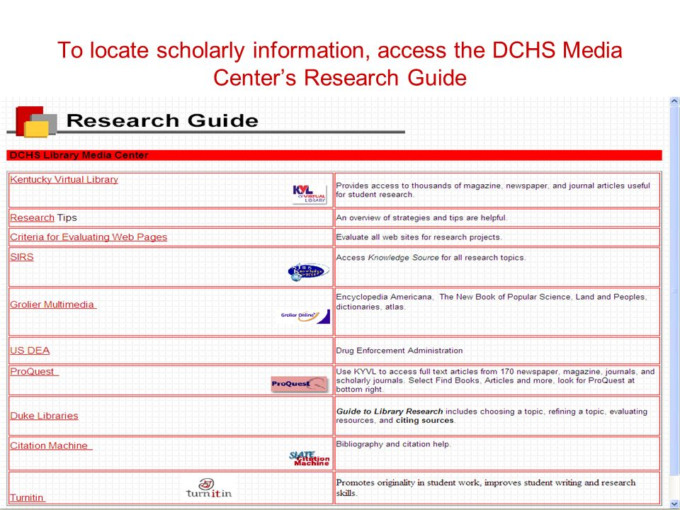 To locate scholarly information, access the DCHS Media Center's Research Guide