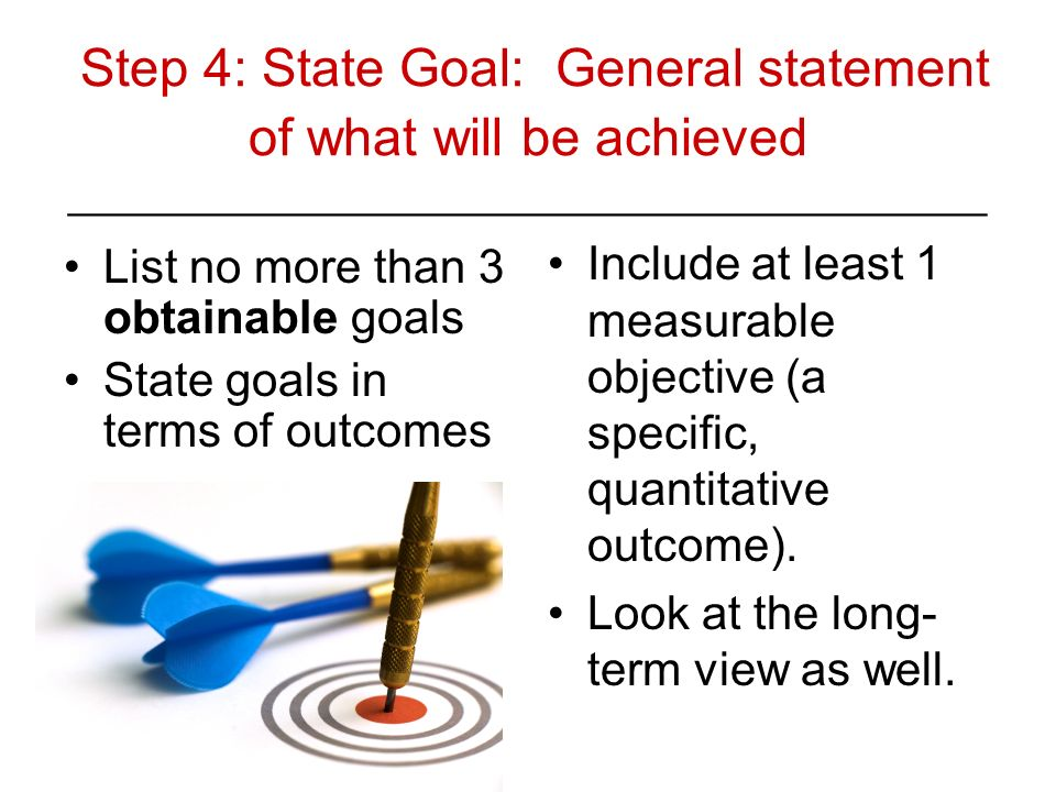 Step 4: State Goal: General statement of what will be achieved ________________________________________