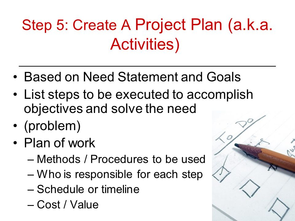 Step 5: Create A Project Plan (a. k. a