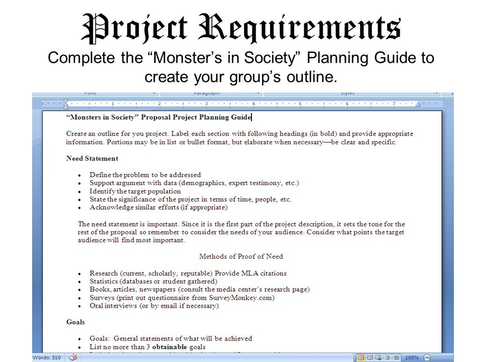 Project Requirements Complete the Monster's in Society Planning Guide to create your group's outline.