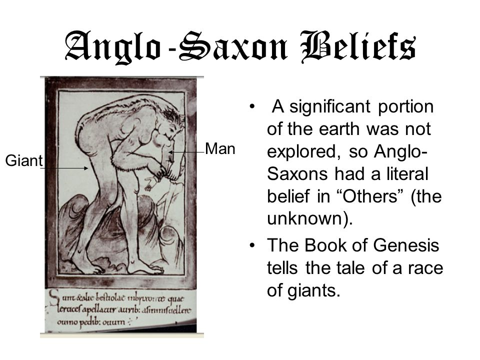 Anglo-Saxon Beliefs A significant portion of the earth was not explored, so Anglo-Saxons had a literal belief in Others (the unknown).