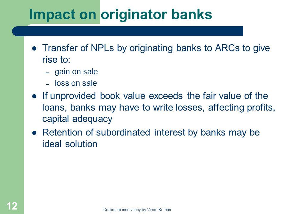 Impact on originator banks