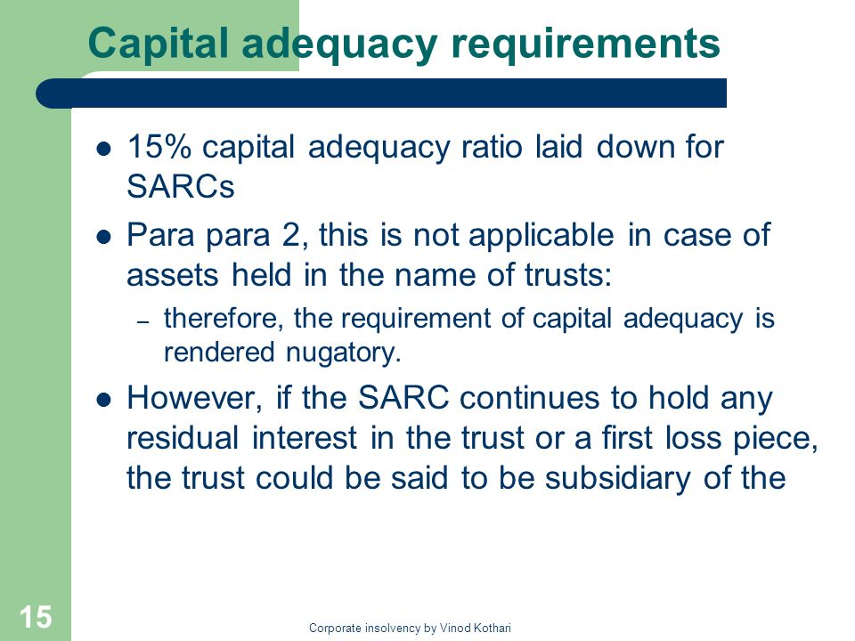 Capital adequacy requirements