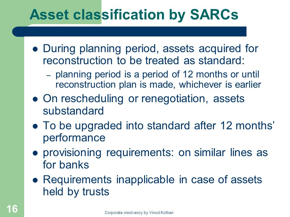 Asset classification by SARCs