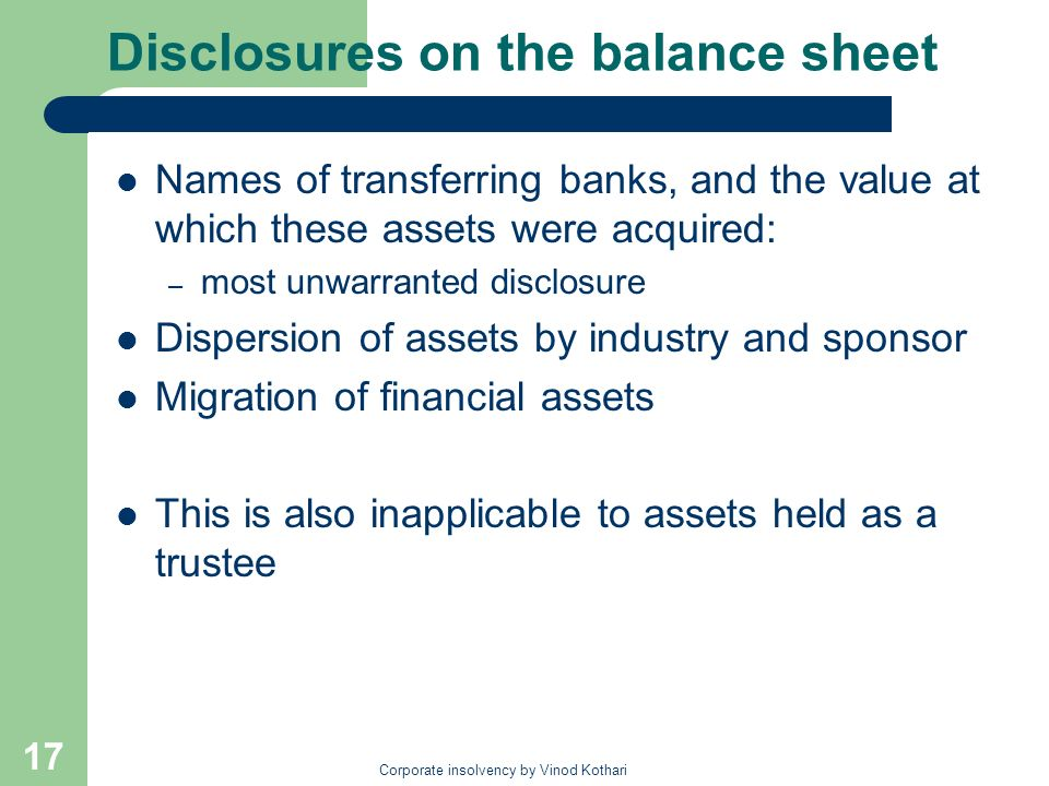 Disclosures on the balance sheet