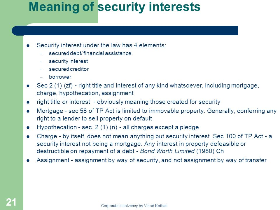 Meaning of security interests