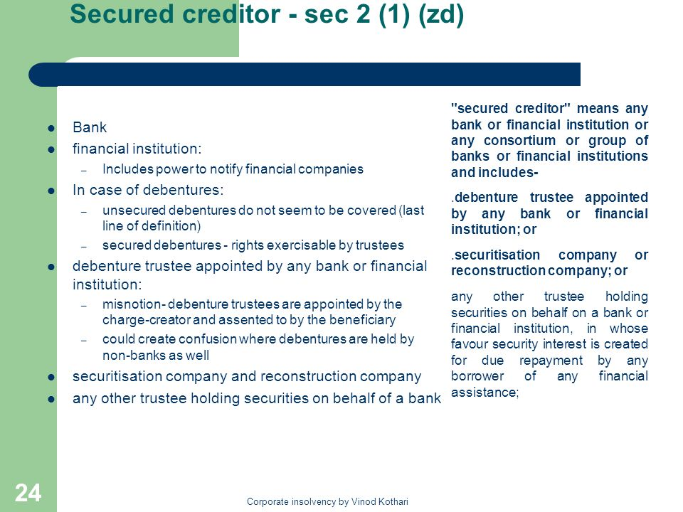 Secured creditor - sec 2 (1) (zd)