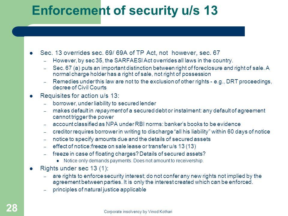 Enforcement of security u/s 13