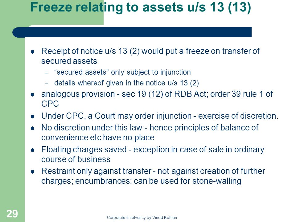 Freeze relating to assets u/s 13 (13)