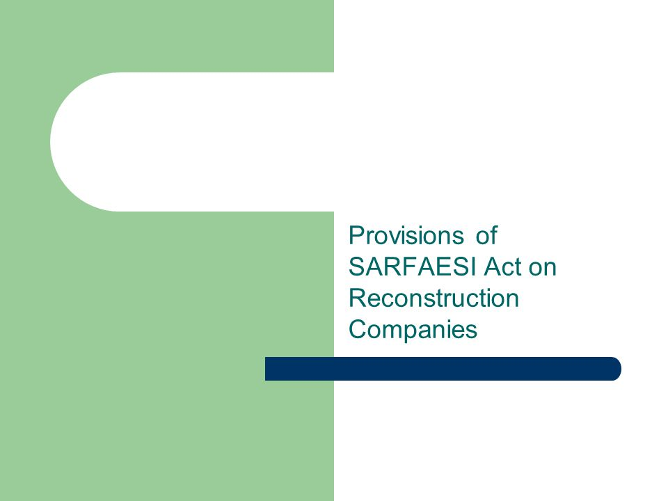 Provisions of SARFAESI Act on Reconstruction Companies