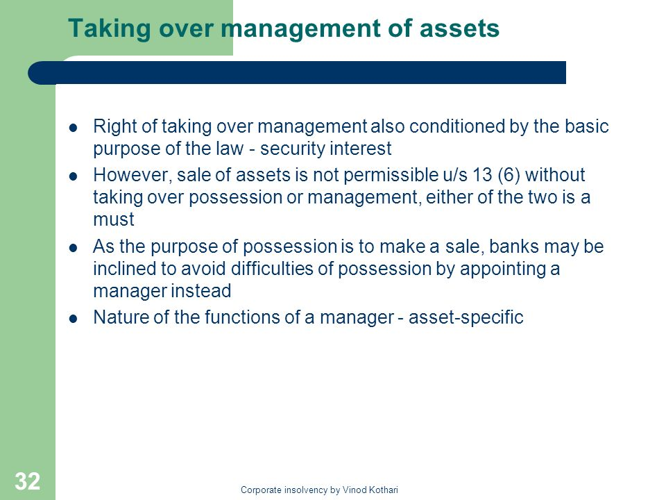 Taking over management of assets