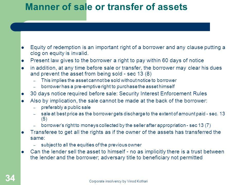 Manner of sale or transfer of assets