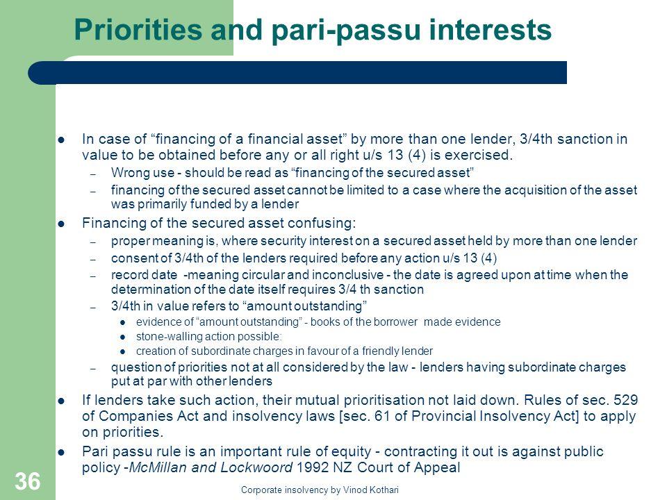 Priorities and pari-passu interests