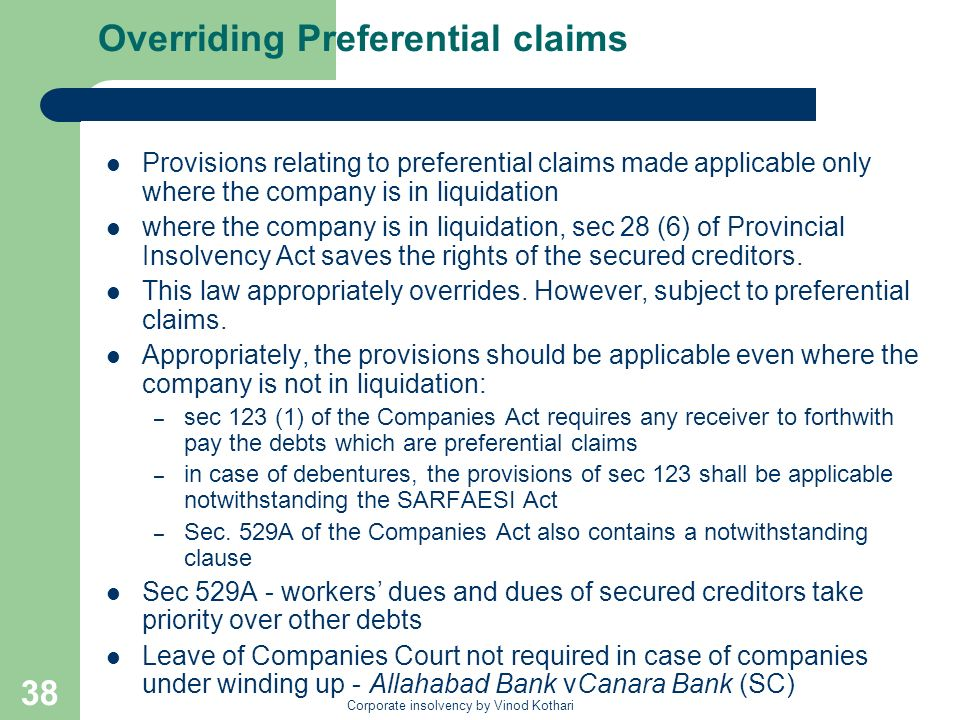 Overriding Preferential claims