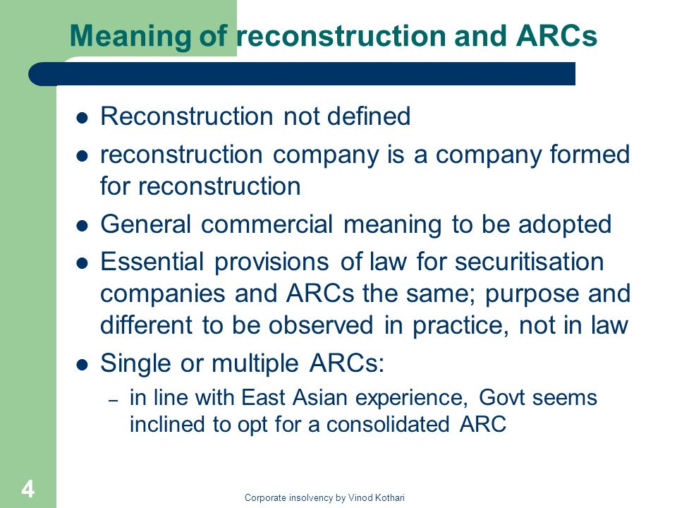 Meaning of reconstruction and ARCs