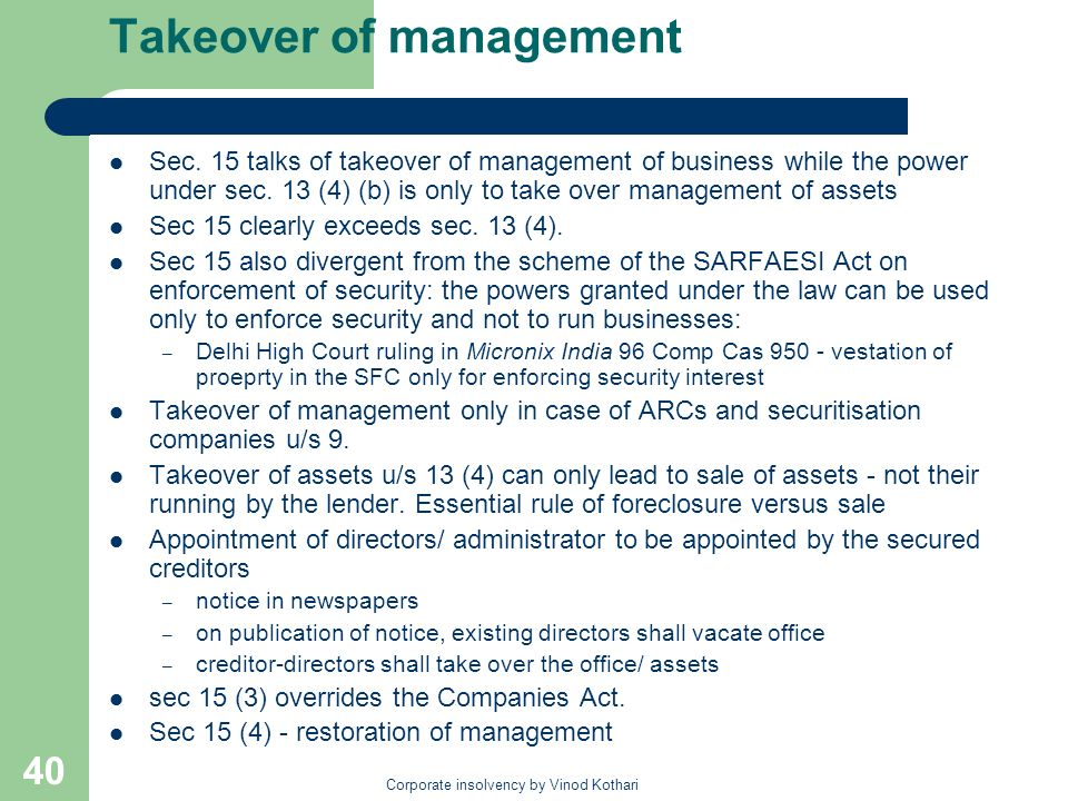 Takeover of management