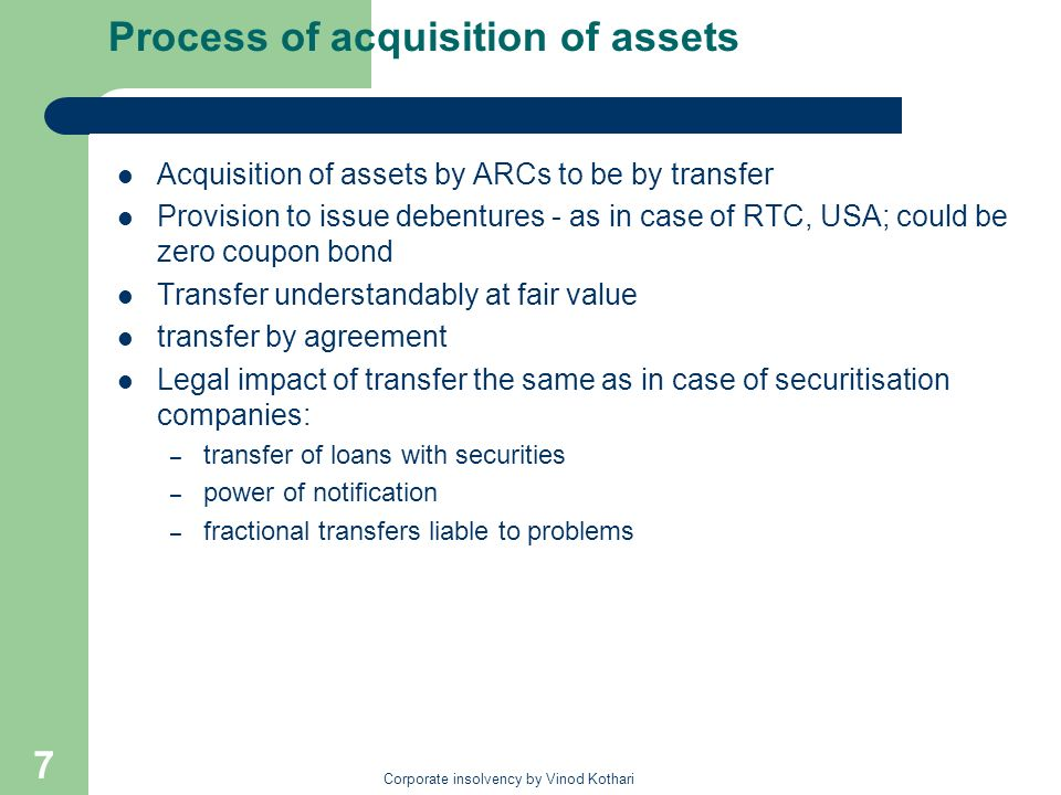 Process of acquisition of assets