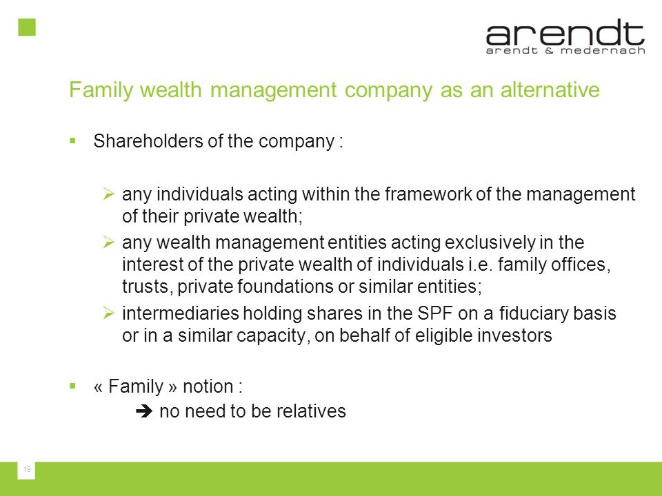 Family wealth management company as an alternative