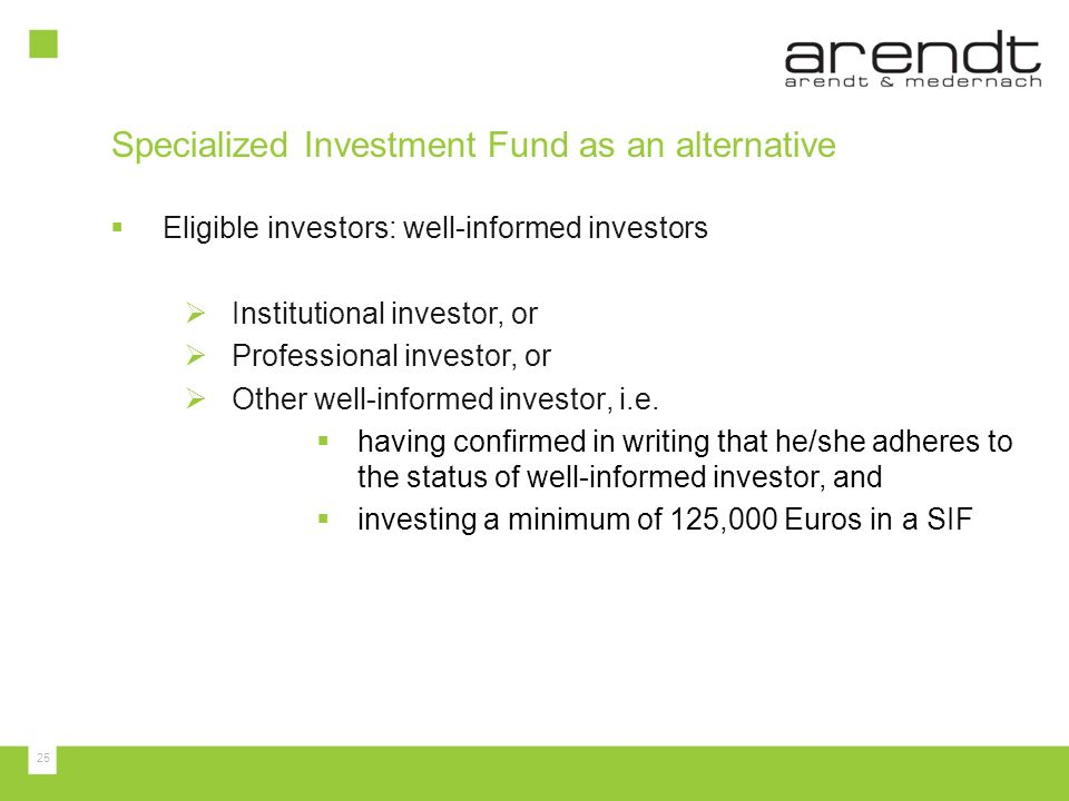 Specialized Investment Fund as an alternative