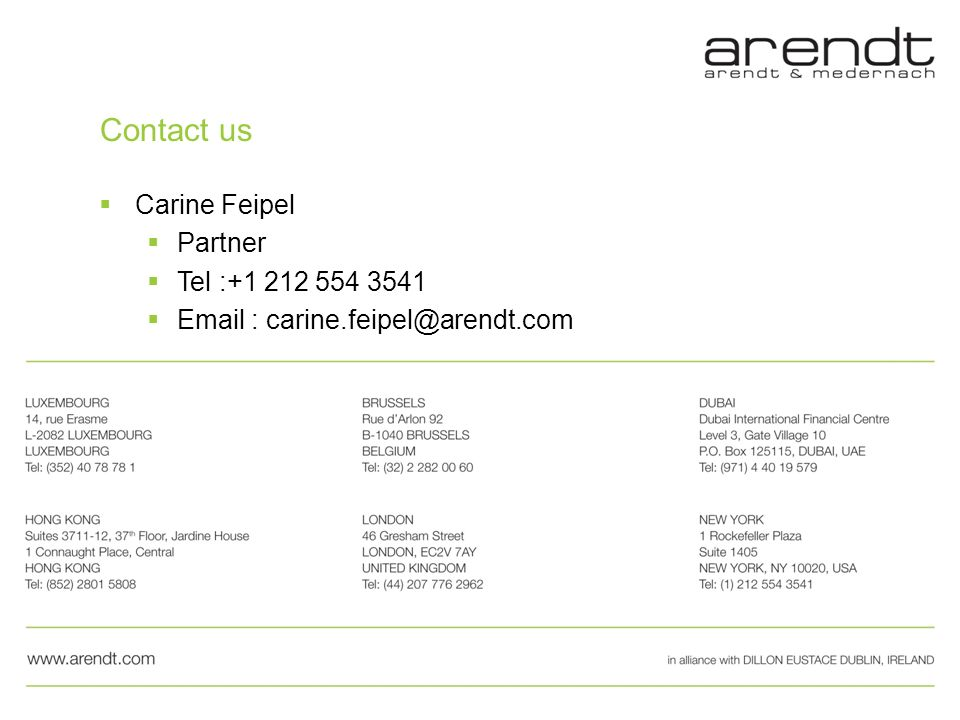 Contact us Carine Feipel Partner Tel :