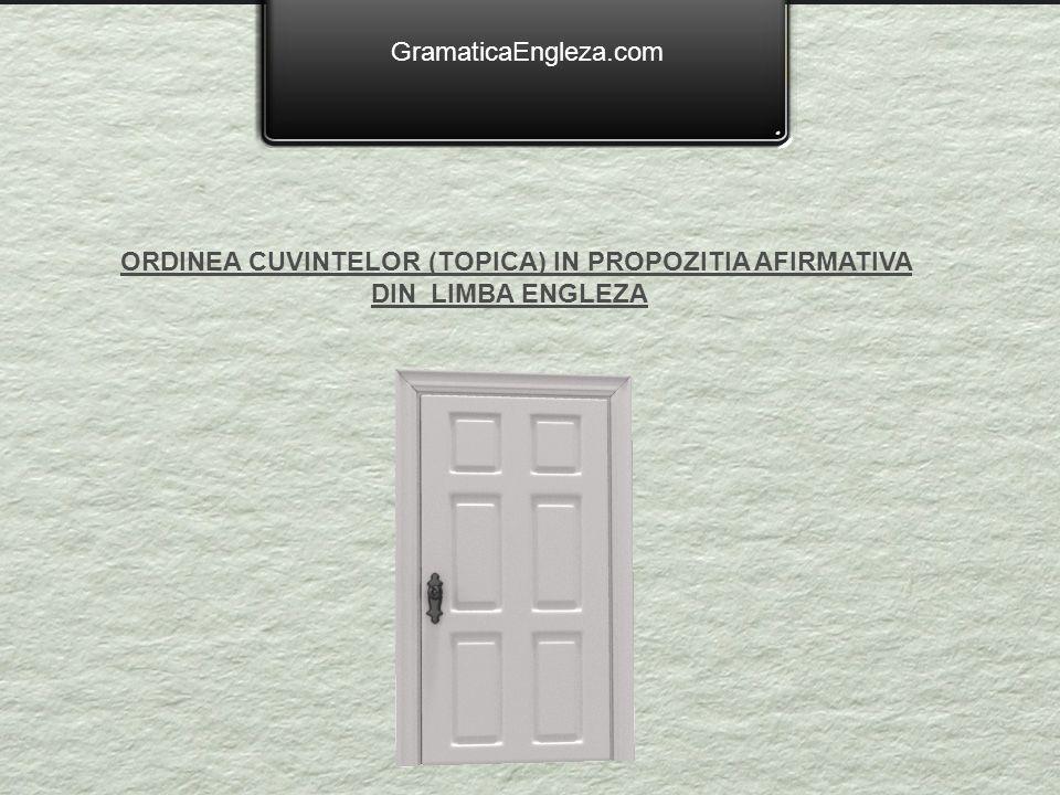 GramaticaEngleza.com ORDINEA CUVINTELOR (TOPICA) IN PROPOZITIA AFIRMATIVA DIN LIMBA ENGLEZA