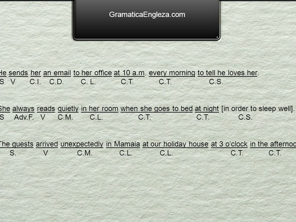 GramaticaEngleza.comHe sends her an email to her office at 10 a.m. every morning to tell he loves her.