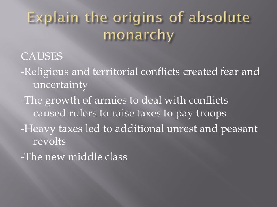 Explain the origins of absolute monarchy