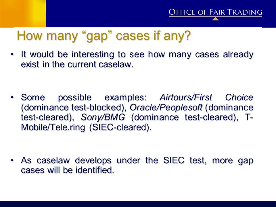 How many gap cases if any