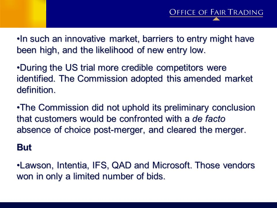 In such an innovative market, barriers to entry might have been high, and the likelihood of new entry low.