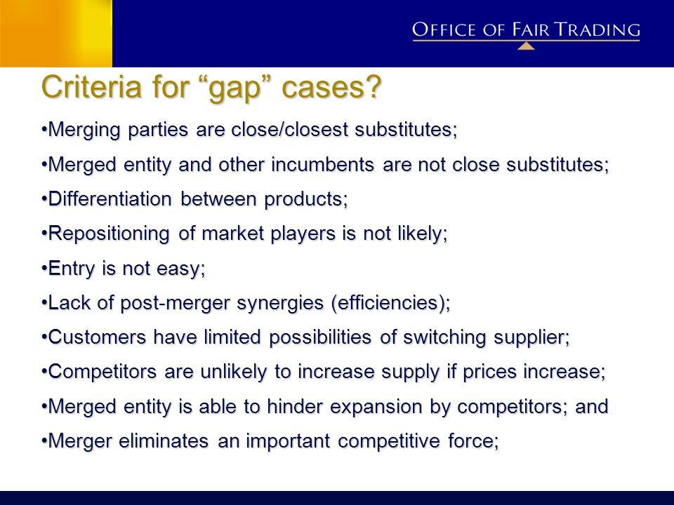 Criteria for gap cases