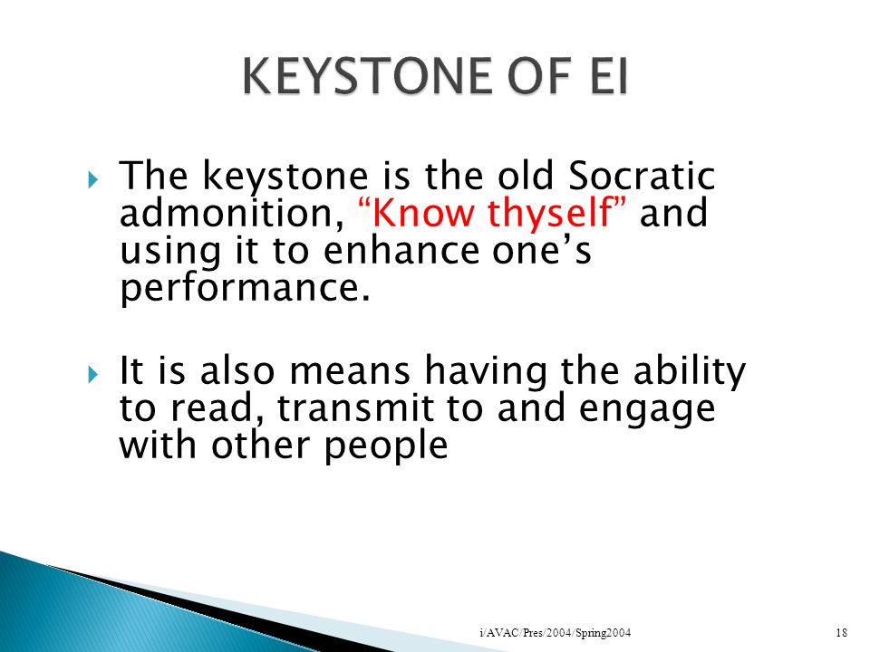 KEYSTONE OF EI The keystone is the old Socratic admonition, Know thyself and using it to enhance one's performance.