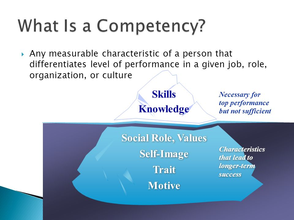 What Is a Competency Skills Knowledge Social Role, Values Self-Image