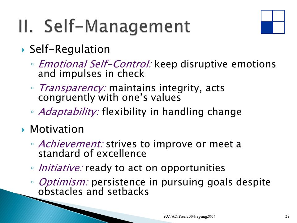 II. Self-Management Self-Regulation Motivation