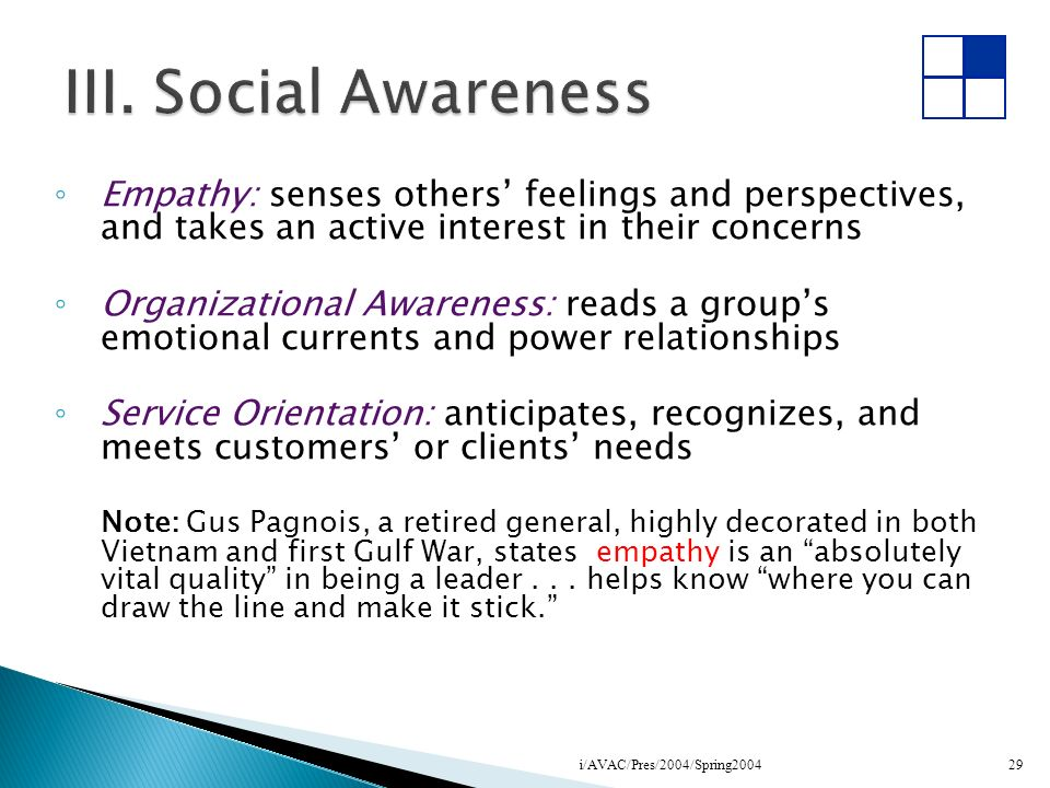 III. Social AwarenessEmpathy: senses others' feelings and perspectives, and takes an active interest in their concerns.