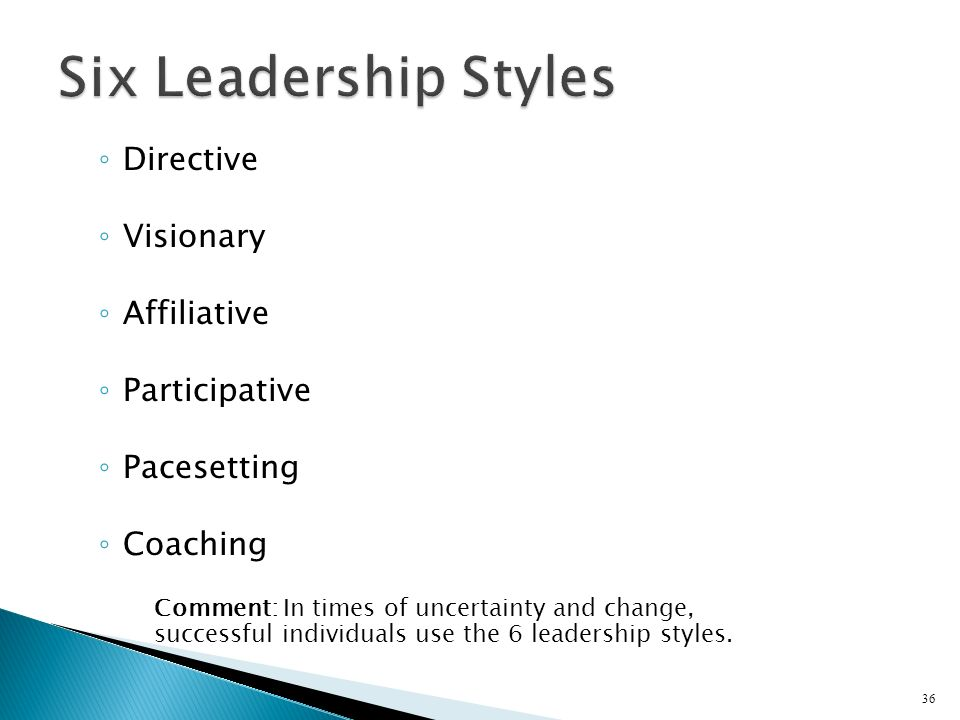 Six Leadership Styles Directive Visionary Affiliative Participative