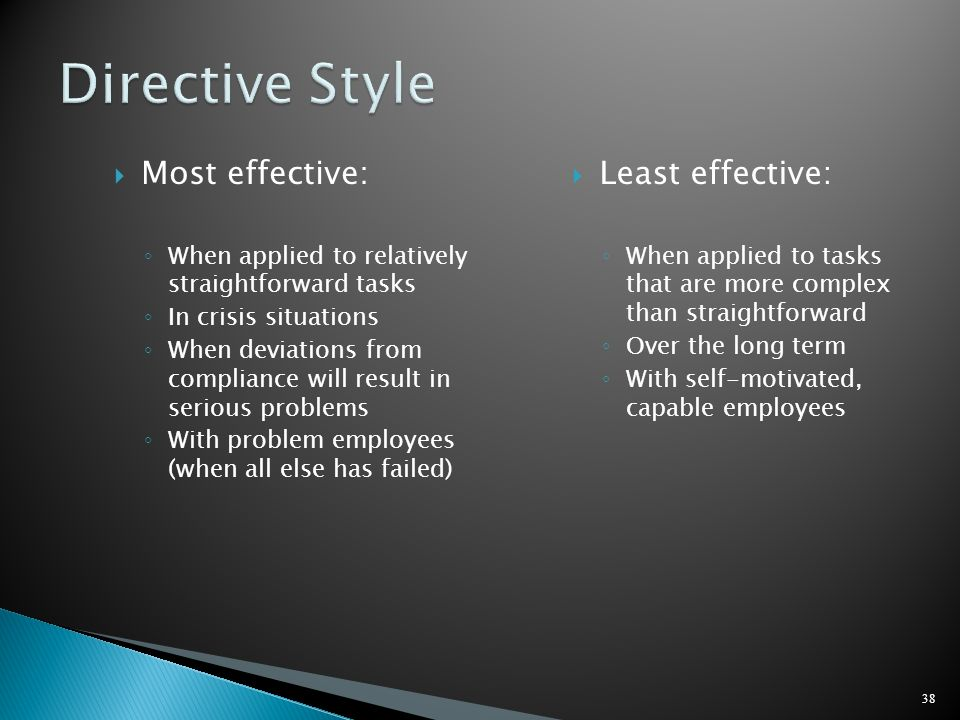 Directive Style Most effective: Least effective: