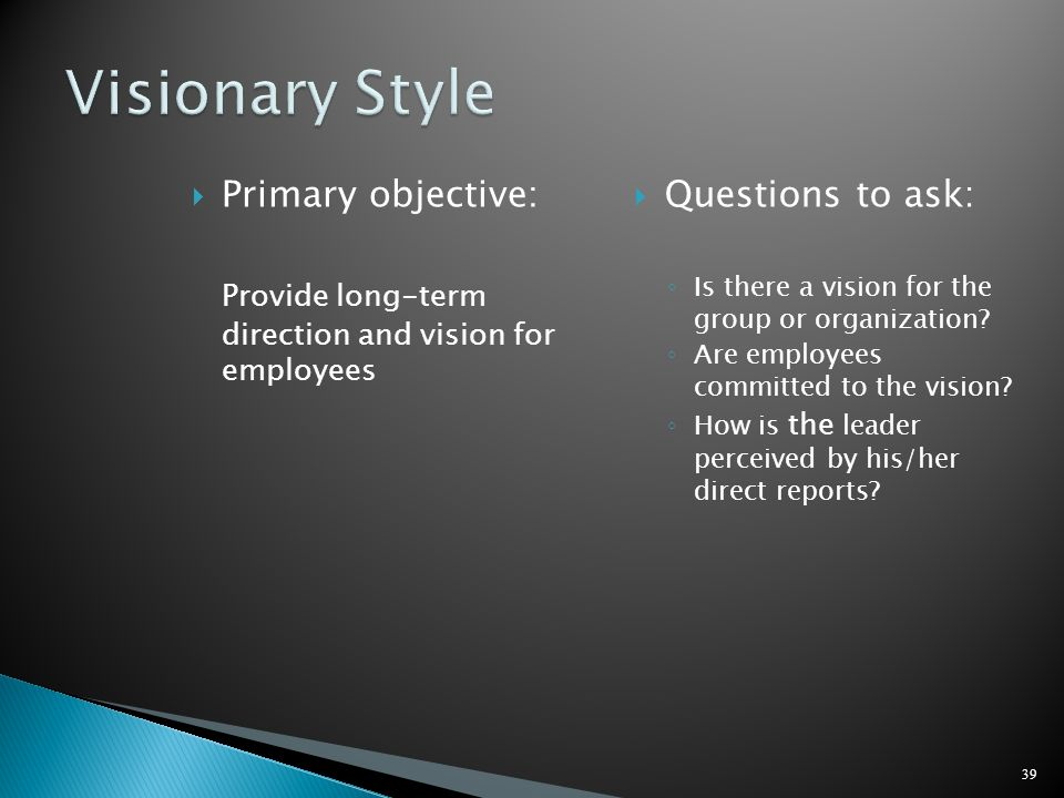 Visionary Style Primary objective: