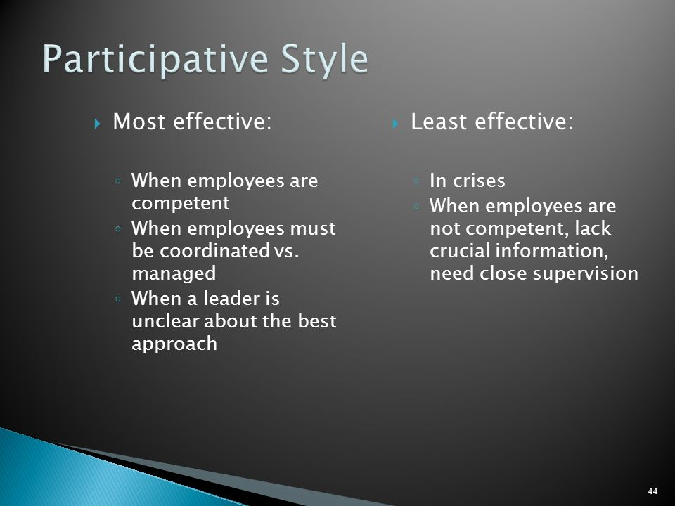 Participative Style Most effective: Least effective: