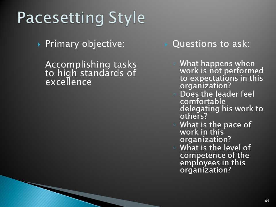 Pacesetting Style Primary objective:
