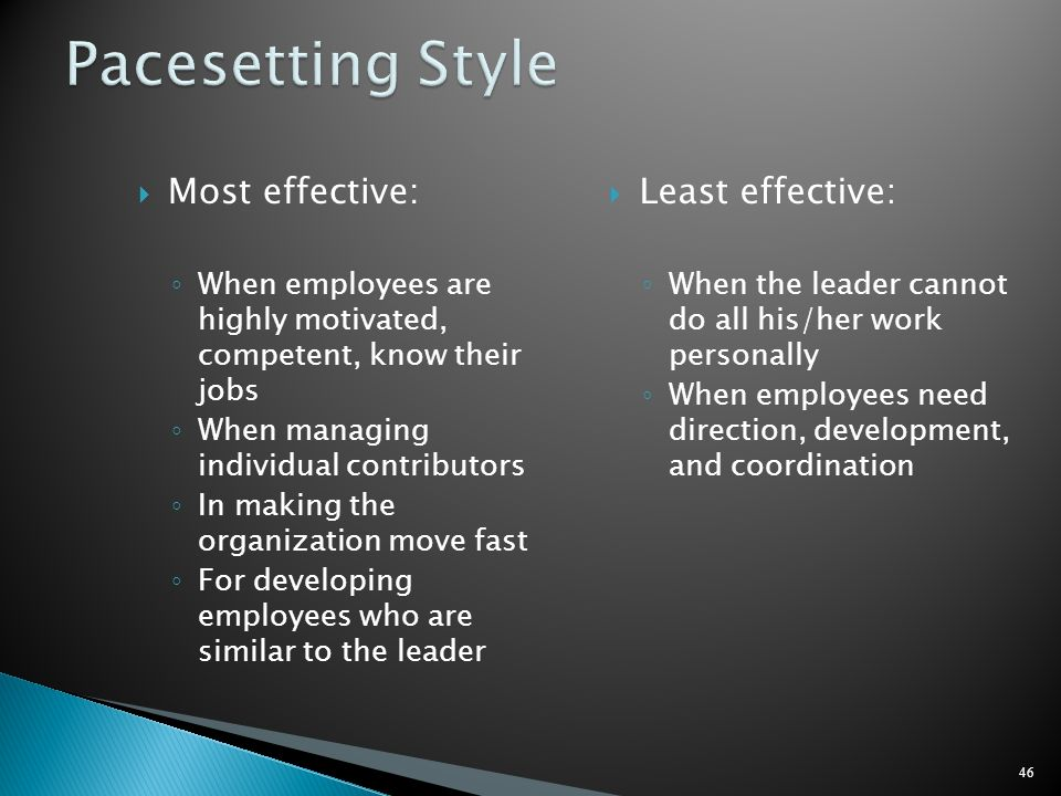 Pacesetting Style Most effective: Least effective: