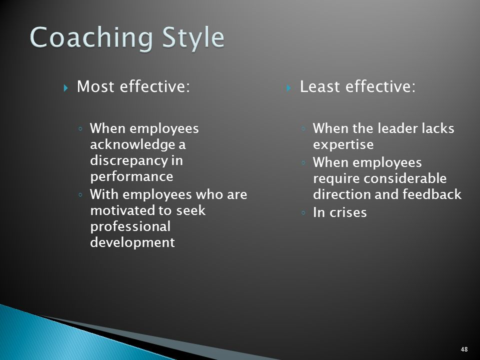 Coaching Style Most effective: Least effective: